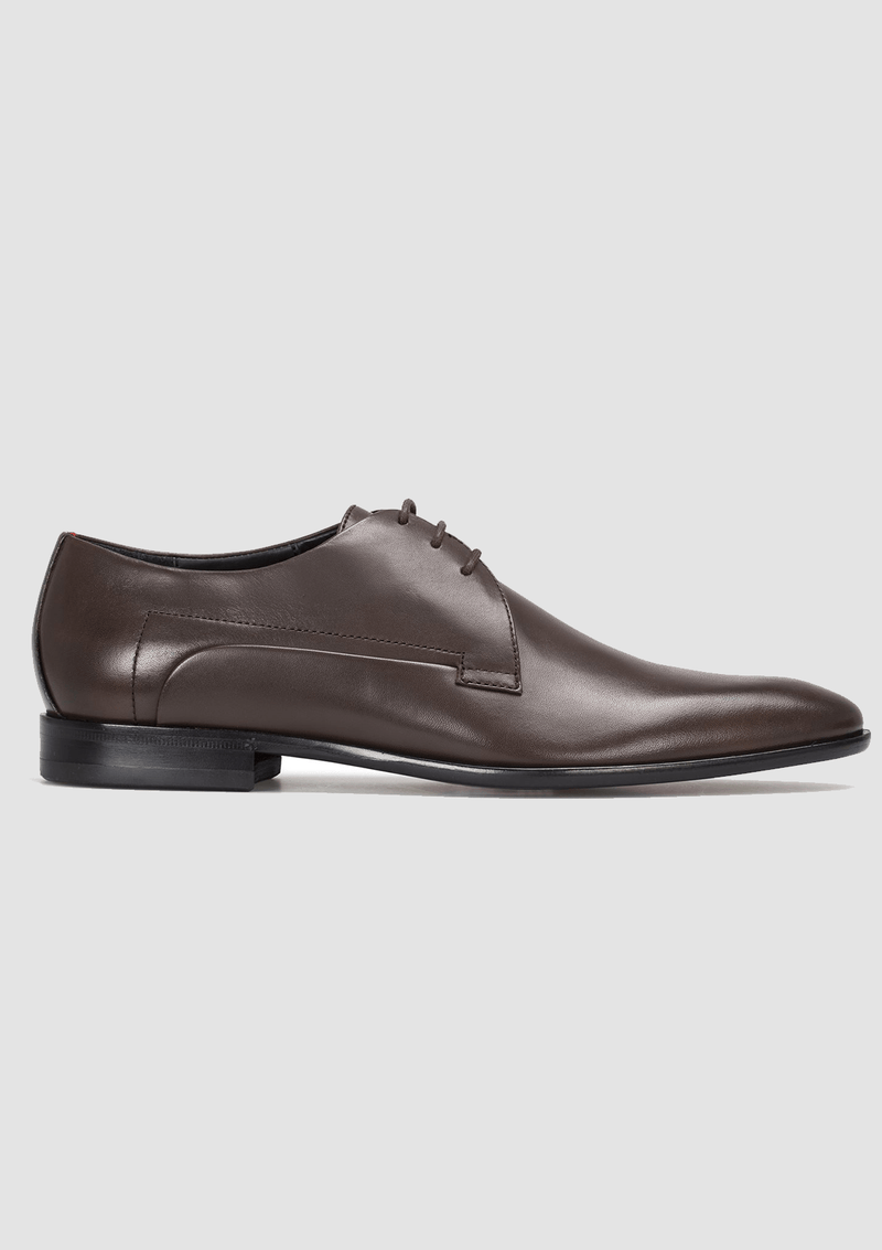 a close up side view of the hugo boss derby mens leather dress shoe in brown