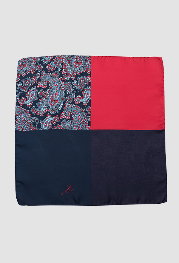 a close up view of the Joe Black four way paisley pocket square in red silk PJAF000020 opened up on a grey background