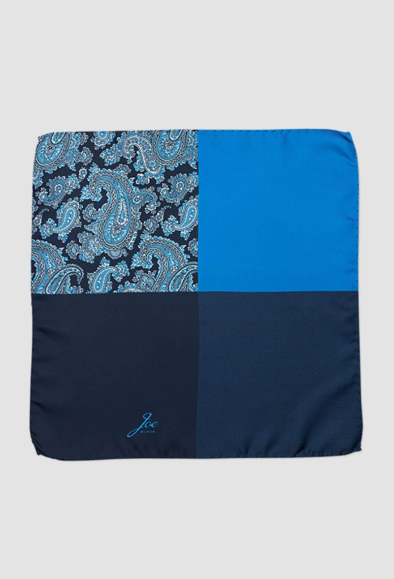 Joe Black four way paisley pochette in blue silk PJAF000020 opened out to view all four print options