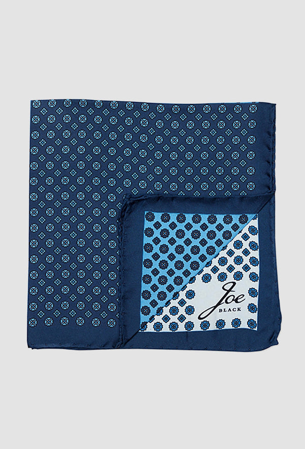 Joe Black four way foulard pochette in blue PJAF000016 folded on a grey background