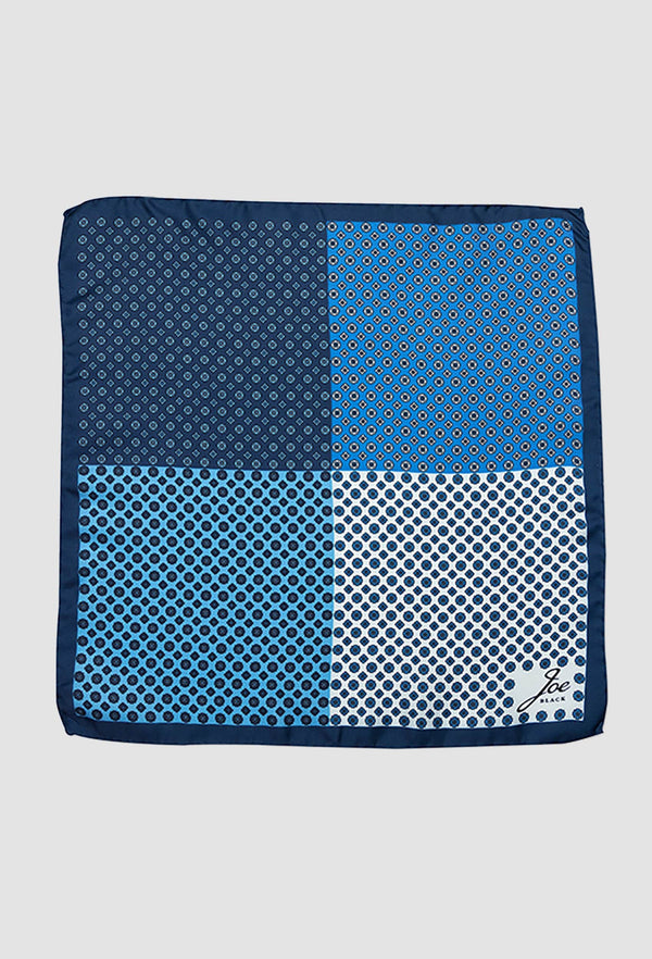 Joe Black four way foulard pochette in blue PJAF000016 opened out to see all four designs