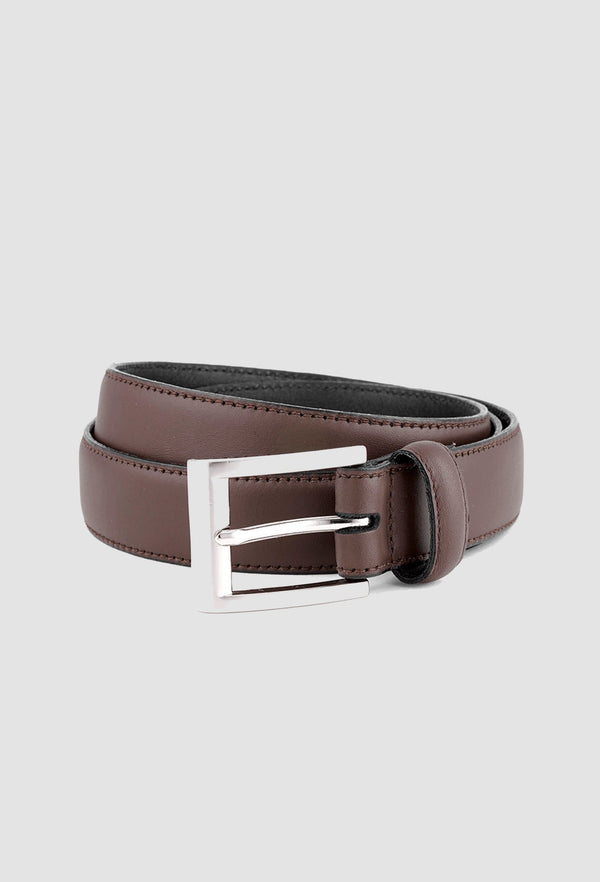 Joe Black reversible belt in tan leather PJAZ000022 with stainless steel belt buckle