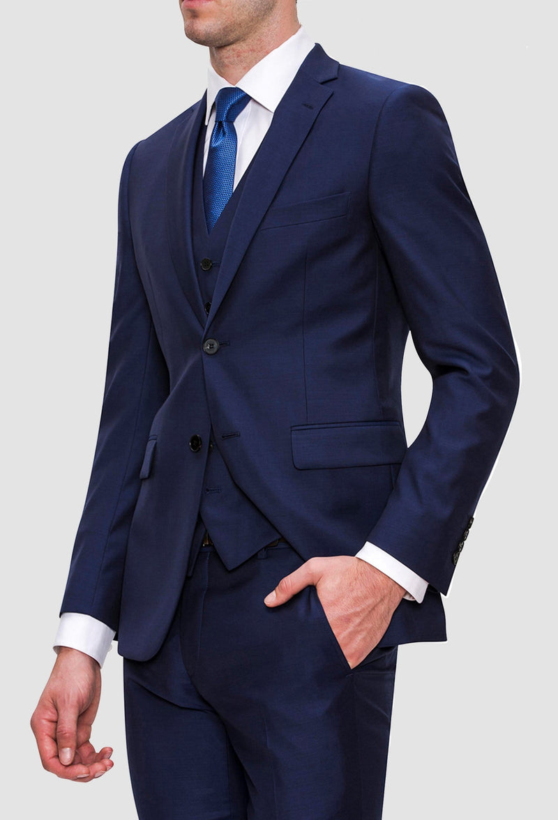 a side on view of the joe Black slim fit anchor suit in navy pure wool FJY100