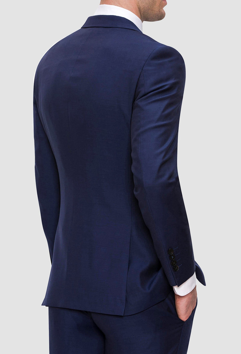 A close up view of the back of the Joe Black slim fit anchor suit jacket in navy pure wool FJY100