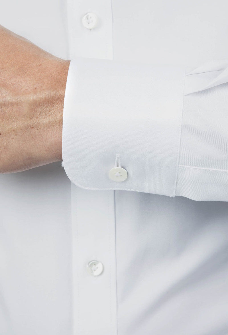 A close up view of the Joe Black slim fit pioneer shirt in white pure cotton FCE300