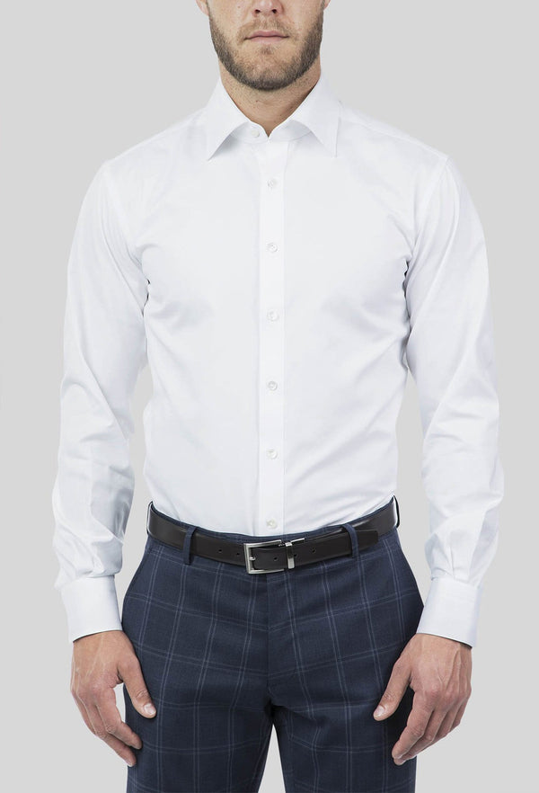 A front on view of the Joe Black slim fit pioneer shirt in white pure cotton FCE300
