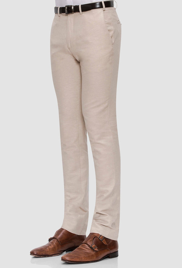 a side on view of the Joe Black slim fit tourist sports trouser in sand linen blend