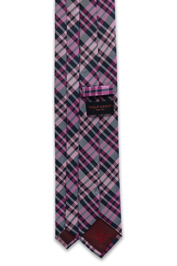 Wolf Kanat check silk tie in pink and navy