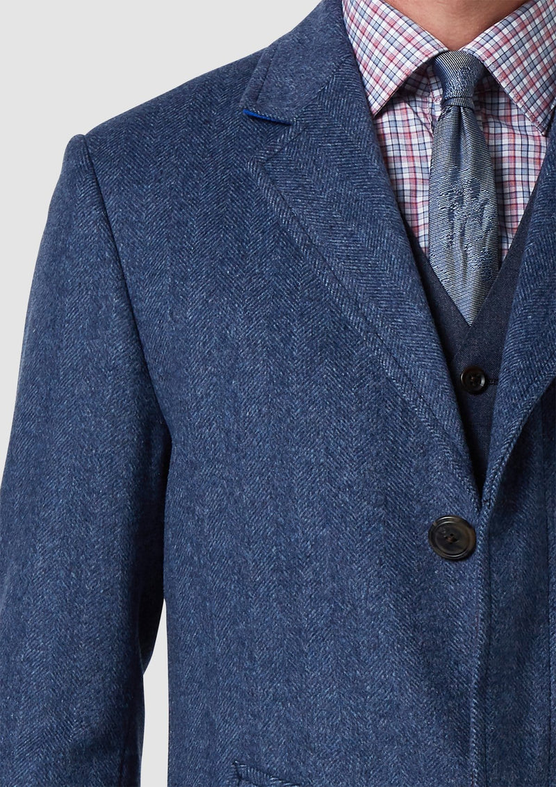 a close up view of the Blue Melange Mens Wool Over Coat By Wolf Kanat 8WK9000 in Blue wool cashmere