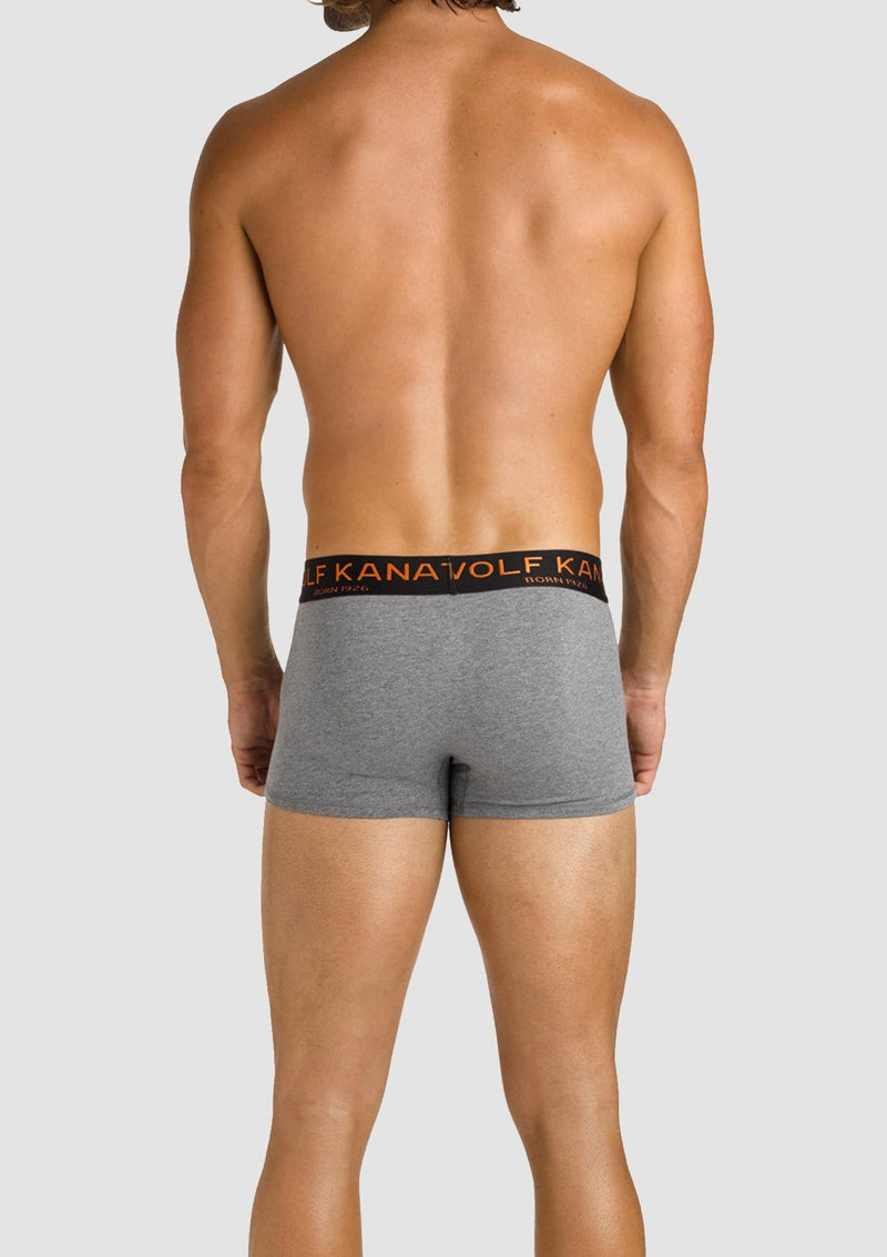 Wolf Kanat Leo boxer short pack in grey navy marle cotton