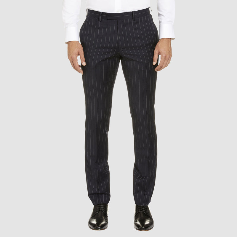 the studio italia slim fit T85 trouser in navy pin stripe ST-427-11