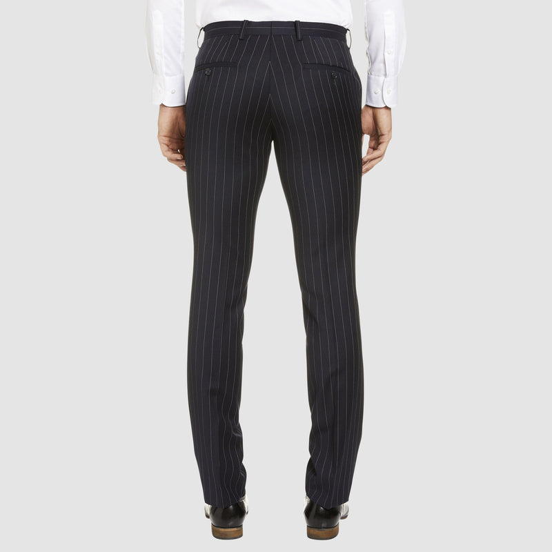 back of the studio italia slim fit T85 trouser in navy pin stripe ST-427-11