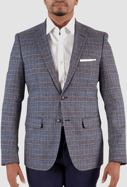 the aston man slim fit miller sports jacket in blue check cotton and linen blend jacket