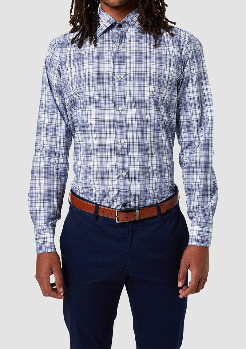 the slim fit romanov shirt in pure cotton plaid print with clear buttons