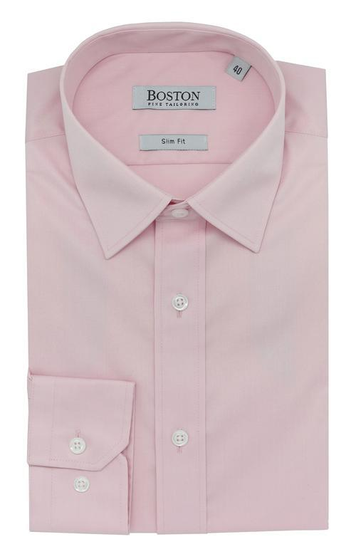 the boston mens liberty business shirt in pink cotton