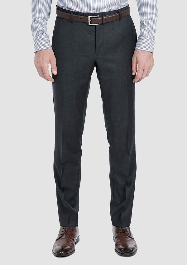 a front view of the slim fit gibson beta suit trouser in charcoal pure wool FG1614