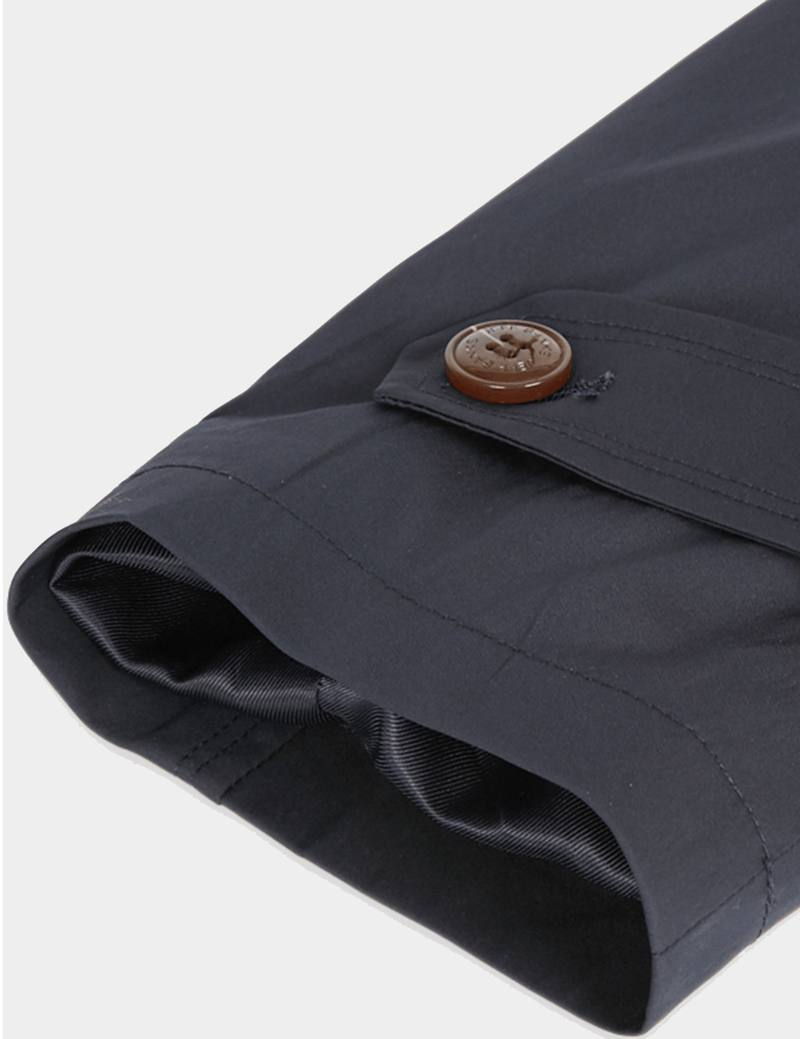 the cuff and tortoiseshell button detail on the slim fit jeff banks mens trench coat in navy K107991094