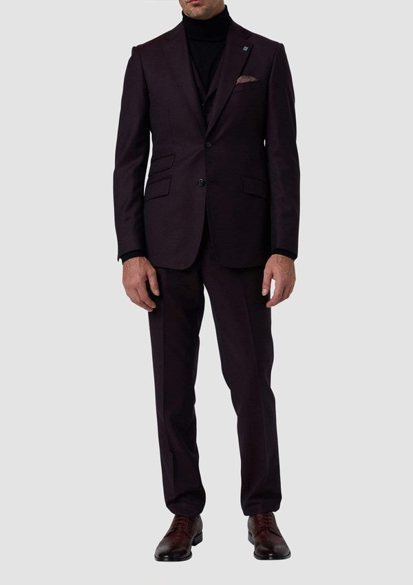 slim fit hearts suit including the hearts mens suit trouser seperate in red pure wool 8WK9010