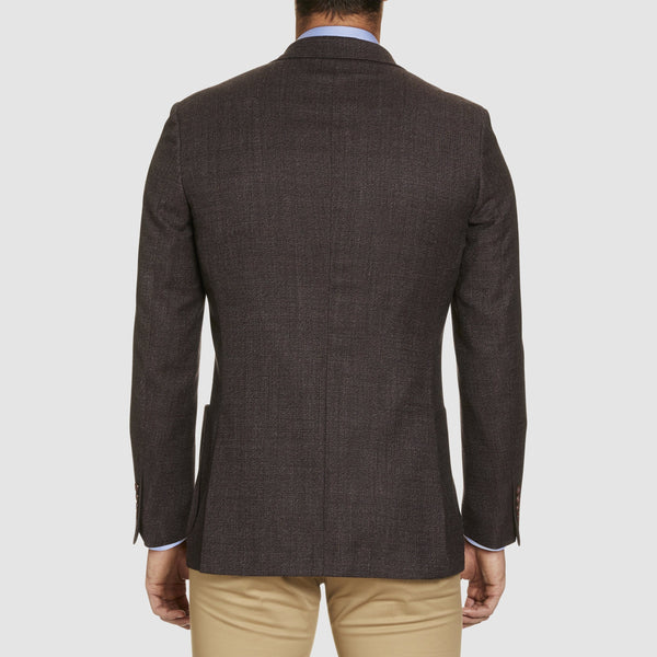 back view of the slim fit studio italia clive sports jacket in shiraz bugundy pure australian wool wool ST-460-81