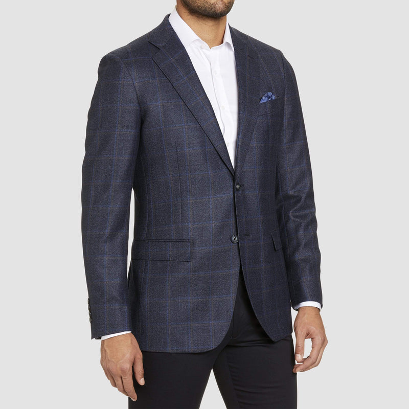 pure australian wool in a gorgeous navy check fabric slim fit studio italia jacob jacket in navy australian pure wool ST-466-11