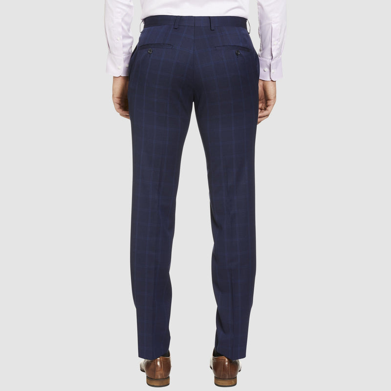 a back view of the studio italia classic fit icon T81 trouser in navy blue wool ST-479-11