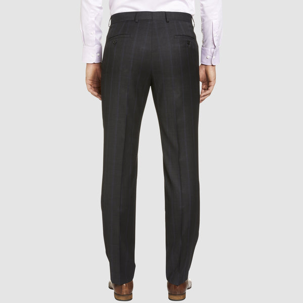 a back view of the T81 classic fit studio italia business trouser in grey wool ST-479-21