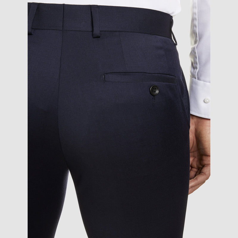 a close view of the pocket details on the studio italia classic fit T81 icon trouser in navy wool blend ST-470-11