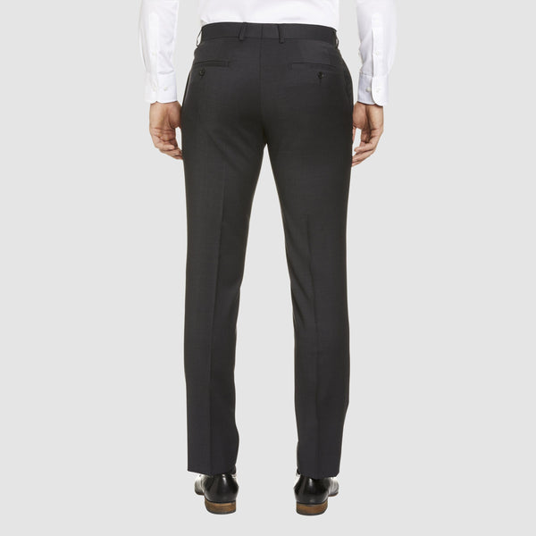 a back view of the studio italia classic fit T81 trouser in charcoal wool blend