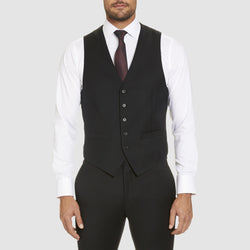 the classic icon fit alex vest by studio italia in black wool ST-470-31