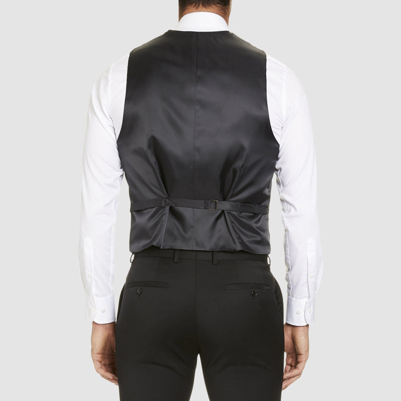 the tab adjusters at the back of the classic icon fit alex vest by studio italia in black wool ST-470-31
