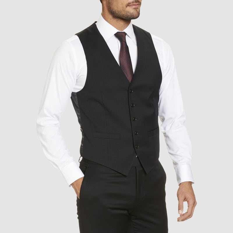 Studio Italia classic fit alex vest in black wool blend