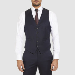 studio italia classic icon fit alex vest in navy wool blend ST-470-11
