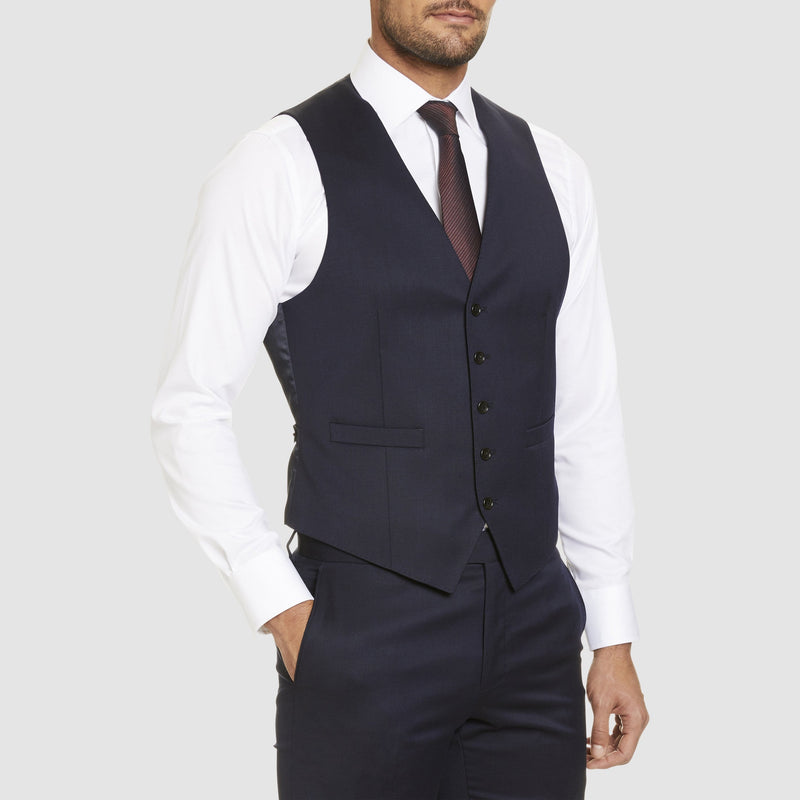 Studio Italia classic fit alex vest in navy wool blend - Big Man Sizes