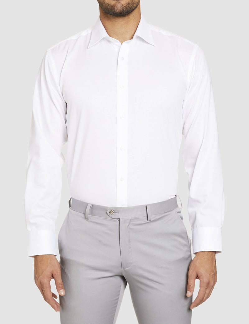studio italia classic fit fairmont business shirt in white pure cotton st-01