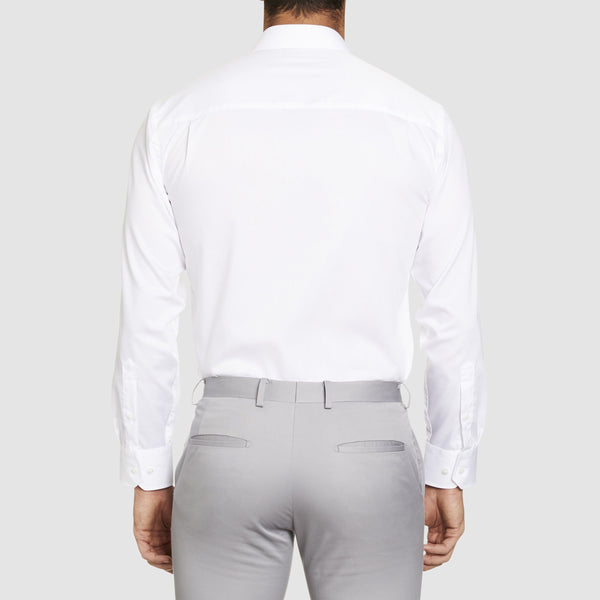 back view of the studio italia classic fit fairmont business shirt in white pure cotton st-01