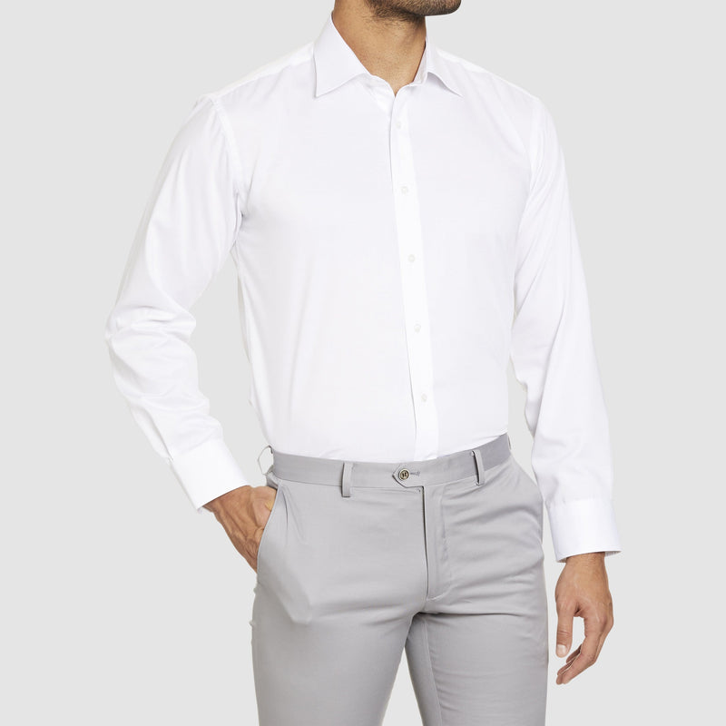 Studio Italia classic fit fairmont single cuff shirt in white pure cotton