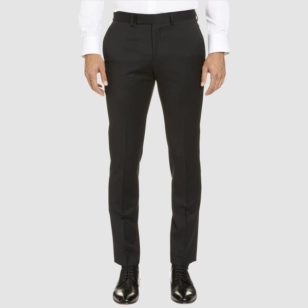 a front view of the studio italia classic fit icon T81 trouser in black wool blend ST-470-31