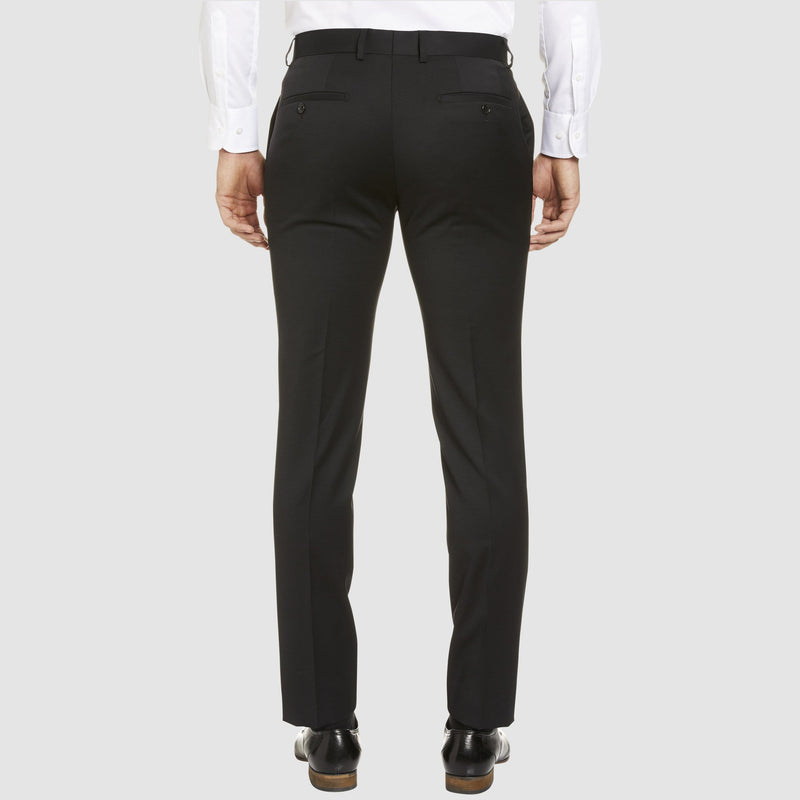 a back view of the studio italia classic fit icon T81 trouser in black wool blend ST-470-31