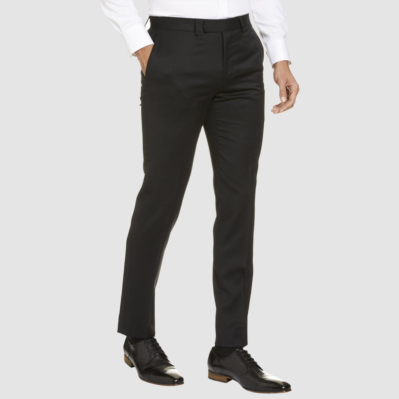 Studio Italia classic fit icon T81 trouser in black wool blend - Big Man Sizes