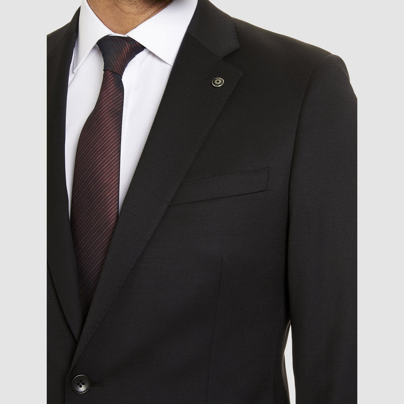 the botch lapel detail of the studio italia classic fit icon george suit in black wool blend