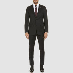 a full length view of the studio italia classic icon fit george suit in black wool blend ST-470-31