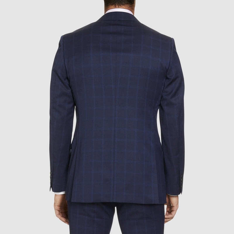 A back view of the studio italia classic icon fit momento suit in blue pure wool ST-479-11