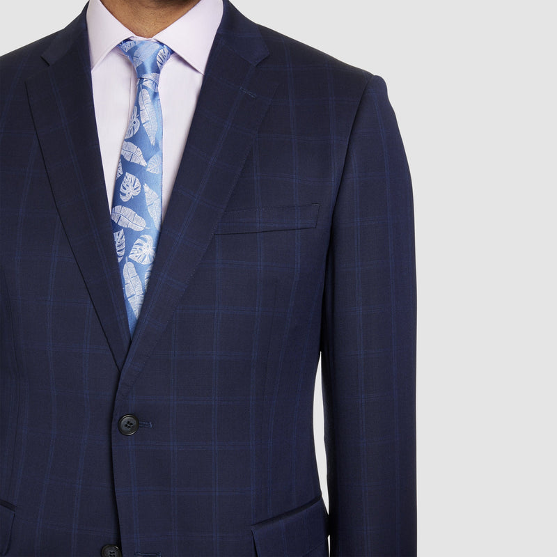 notch lapel detailing on the studio italia classic icon fit momento suit jacket in blue pure wool ST-479-11