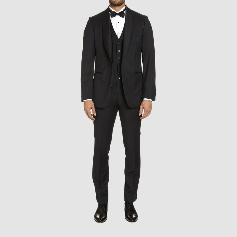 full length view of the studio italia slim fit savoy tuxedo jacket in black pure wool with shawl collar