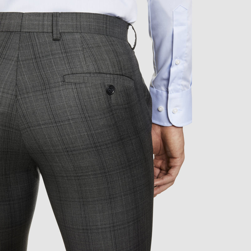 back pocket detailing of the studio italia slim fit florence T85 trouser in grey pure wool ST-321-21