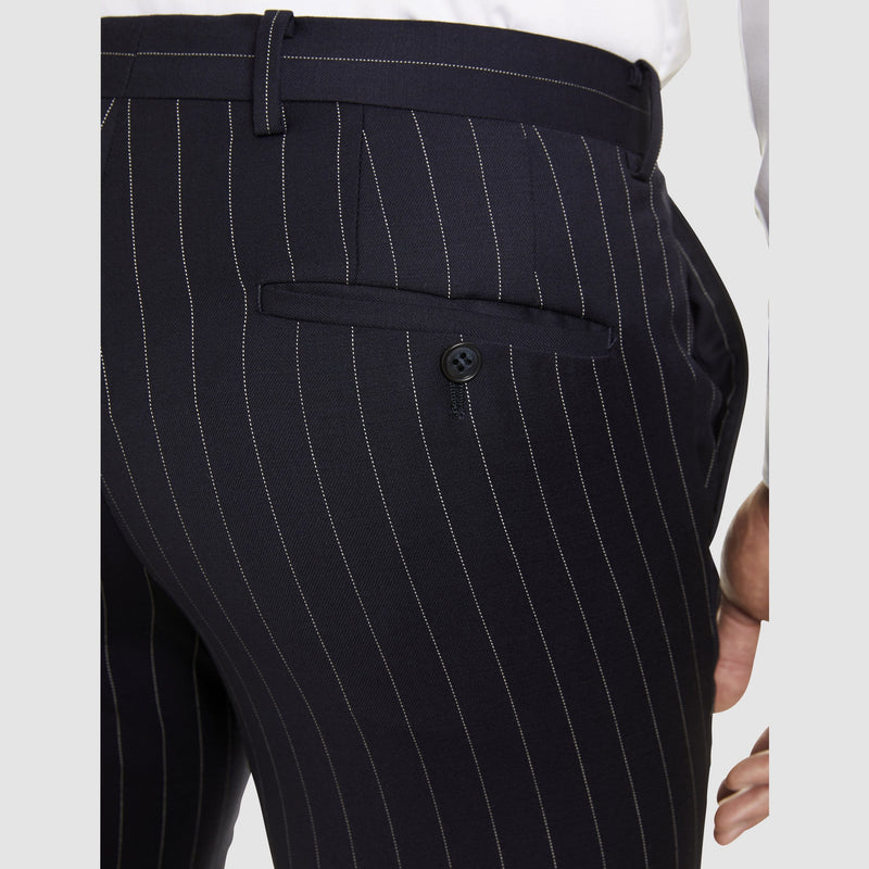 a close up view of the the studio italia slim fit T85 trouser in navy pin stripe ST-427-11
