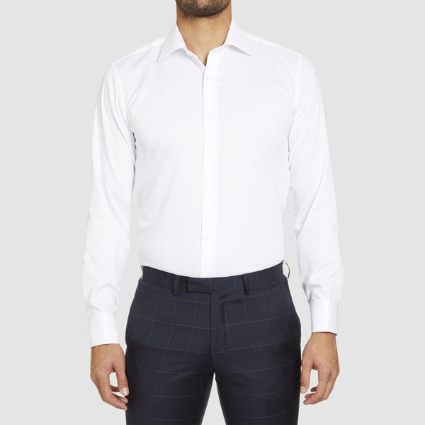 studio italia slim fit bogart double cuff shirt in white  ST-01