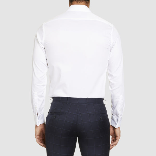back view of the studio italia slim fit bogart double cuff shirt in white