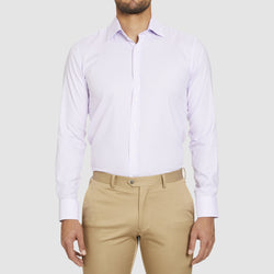 a front view of the studio italia slim fit conran shirt in pink cotton