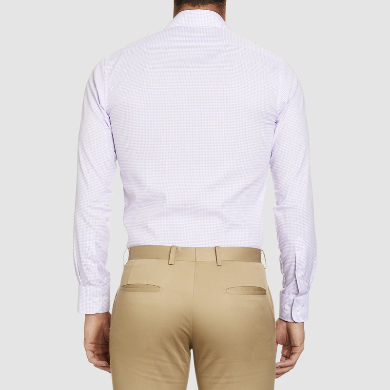 a back view of the studio italia slim fit conran shirt in pink cotton